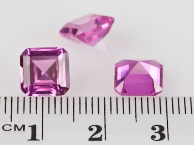 Synthetic Sapphire Pink 8mm Square Emerald Cut (S)