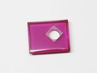Syn Ruby Pink 12x10mm Rect BT Corner CS Flat Back (S)