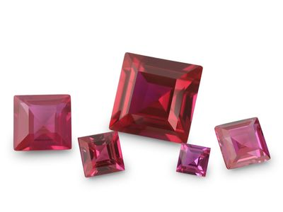 Synthetic Ruby Pink Colour 7mm Square (S)