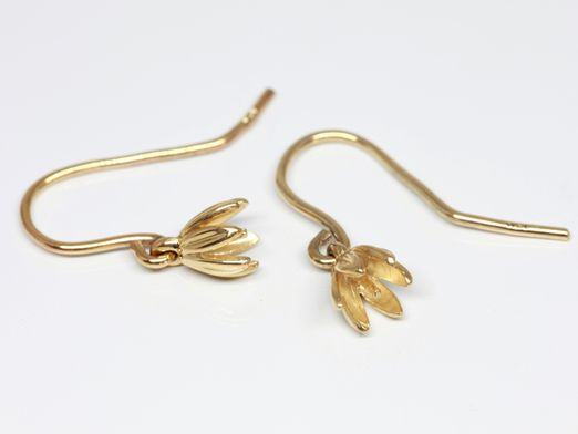 Briolette Findings 9ct Y/G Sheppard Hook Earrings Pair