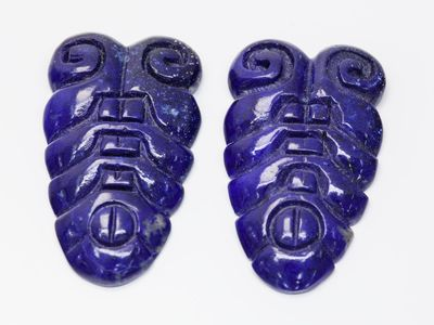 Lapis Lazuli 40x15mm Carving Pair (N)