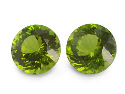 Peridot 12mm Round. Matching Pair (N)