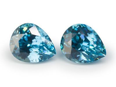Zircon Blue 7.7x6.2mm Pear Pair (E)