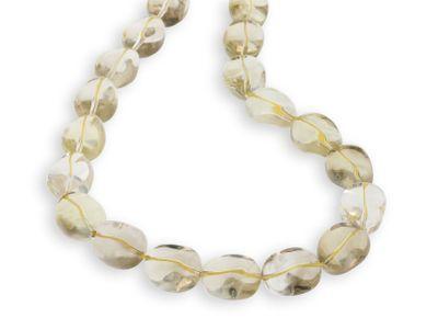 Beads Smoky/Yellow Quartz Tumble/Pol Pebble Large (N)