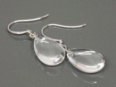 Clear Crystal 10x15x5mm Flat Polish Drops Earrings A (N)