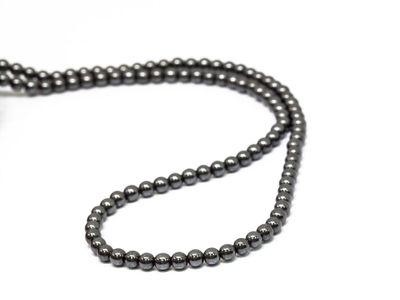 Beads Syn Haematite 4mm Round Pol (S)