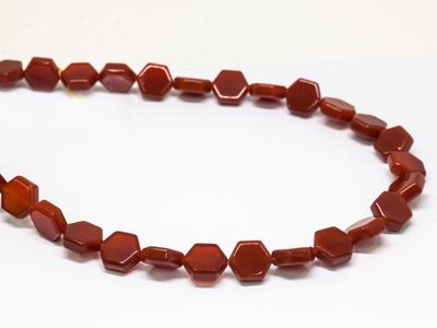 Beads Carnelian 12mm Flat Hex