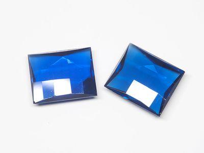 """Syn Blue Spinel 12x10mm Baguette """"Damier"""" (S)"""