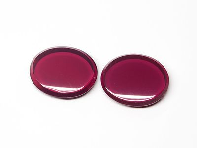 Synthetic Ruby Dark 10x8mm Oval BT Flat Back (S)