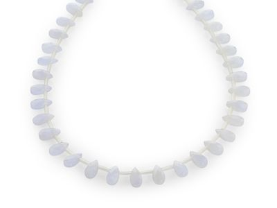Beads Blue Chalcedony 10x5mm Briolettes Strand (N)