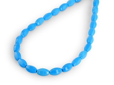 Beads Howlite Dyed Blue 13x8mm Hex Barrel (T)