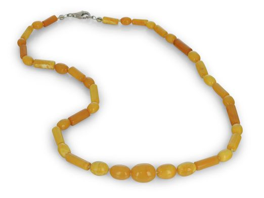 Butter Amber Graduated Oval & Cyclinder Beads w S/S Parrot Clasp