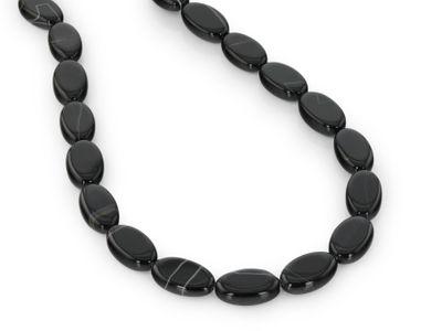 Agate Black & White 20x12x6mm Oval Flat Pol (T)