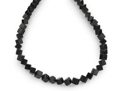 Beads Black Obsidian 6mm Corner Drill Cubes (N)