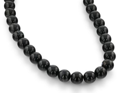 Beads Agate Black & White 14mm Round Pol (T)
