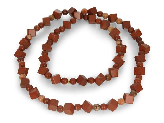 Red Jasper 8mm Cubes & 6mm Round Polished no clasp
