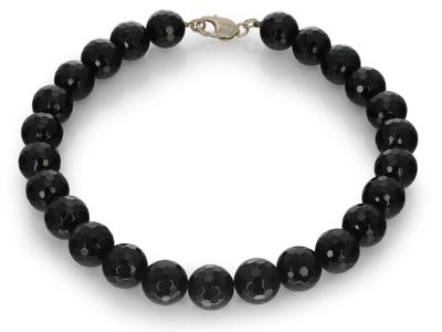 Onyx Faceted Round 16mm w S/S Parrot Clasp