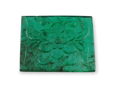 Emerald 19.9x17mm Rectangular Flower Carving (N)