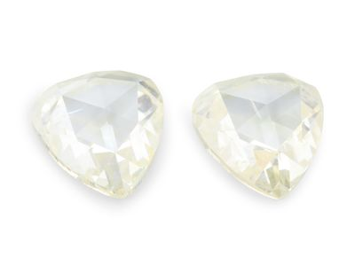 Diamond Pale Yellow 8.2x7.3 Pear Rose Cut PAIR (N)