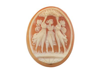 Cameo 40x30mm oval shell 3 muses (N)