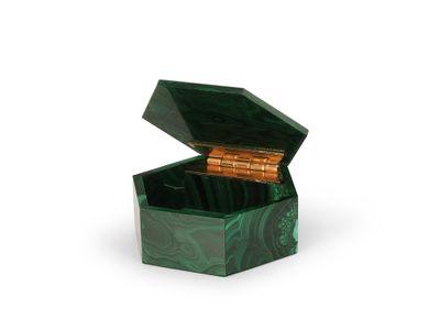 Ornamental Malachite Hex Gembox 60mm (N)