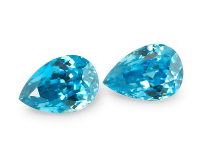 Zircon Blue 10.5x7.2mm Pear PAIR (E)