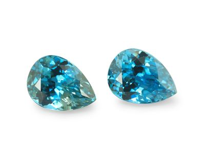 Zircon Blue 9x6.7mm Pear PAIR (E)
