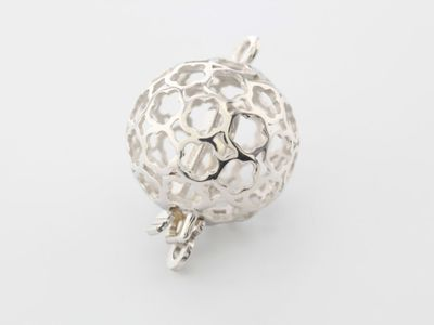 Clasp S/S 12mm Fancy Round Ball