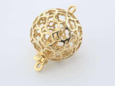 Clasp 14ct Y/G 14mm Pierced Fancy Round Ball