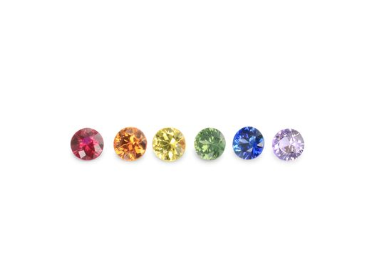 Sapphire Rainbow Set 2mm Round (T) (E)