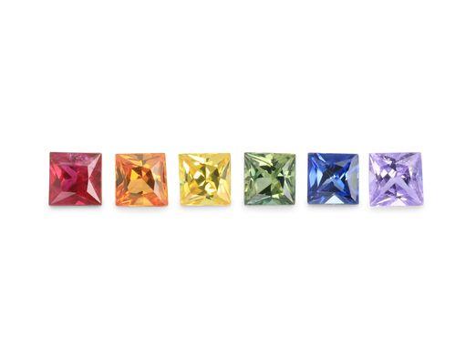 Sapphire Rainbow Set 2.50mm Princess (T) (E)