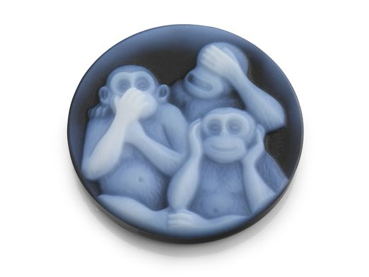 Cameo Blk/White 3 Wise Monkeys 20mm Round (T)