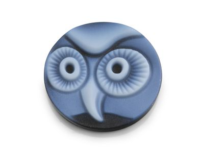 Cameo Blk/White Owl 18mm Round (T)