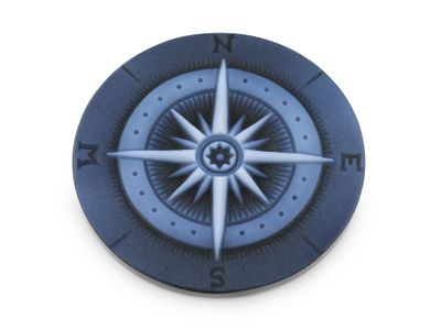 Cameo Blk/White Compass 30mm Round (T)