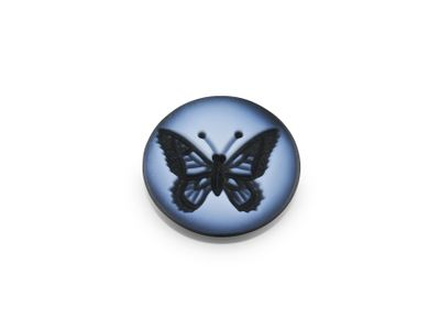 Cameo Blk/White Butterfly 12mm Round (T)
