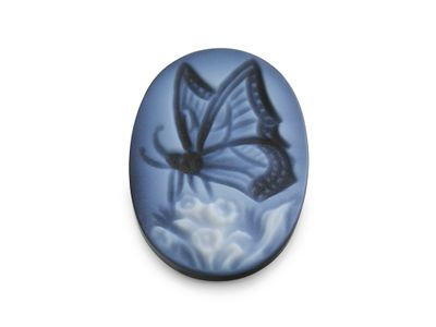 Cameo Blk/White Butterfly 18x13mm Oval (T)