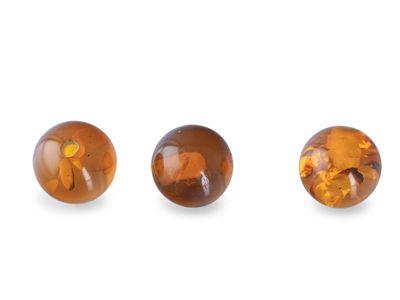 Amber 6mm Round Bead H/D. Spangle (E)