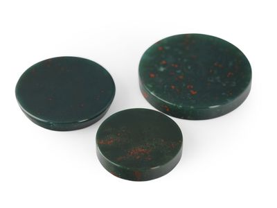 German Cut Bloodstone 20mm Round Disc (N)