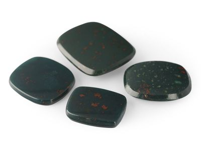 German Cut Bloodstone 16x12mm Cushion BuffTop (N)
