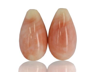 Mottled Pink Coral 19x11mm /pair (N)