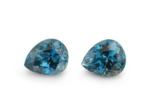 Zircon Blue 7.8x6.5mm Pear PAIR (E)