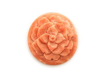 Coral Pink 23x21mm Carved Camelia Flower (N)