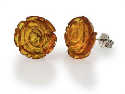 Amber 15mm Carving Flower Earrings (E )