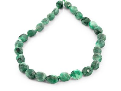 Emerald 14x12mm Faceted Oval Freeform Strand (E)
