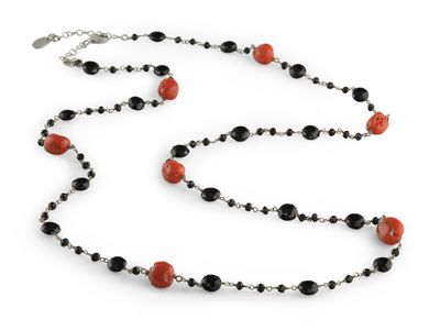Coral and Black Spinel Faceted Necklace