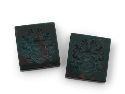 Bloodstone Intaglio Crest 16x14mm Rectangle (N)