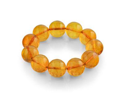 Amber 17-18mm Round Polish Bracelet (E)