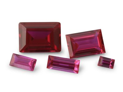 Synthetic Ruby Pink Colour 18x13mm Baguette (S)