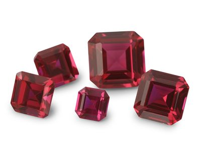 Synthetic Ruby Pink Colour 12mm Square Emerald Cut (S)