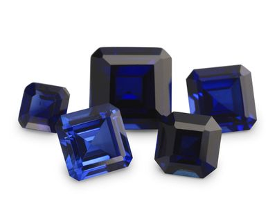Synthetic Blue Sapphire 7mm Square Emerald Cut (S)